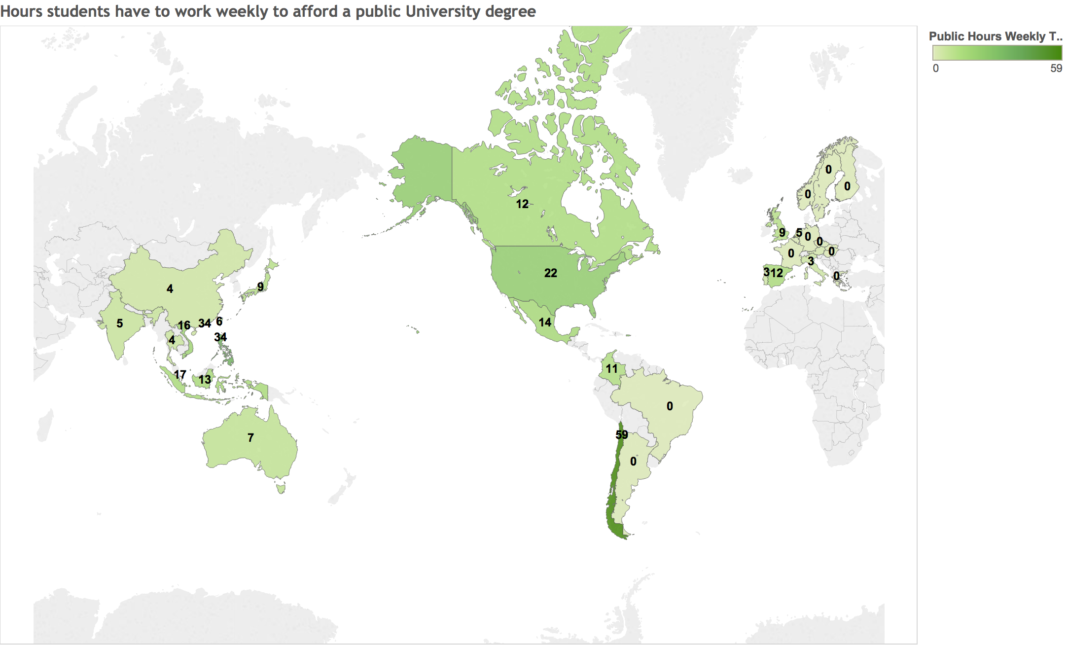 Weekly hours required to afford a public University degree